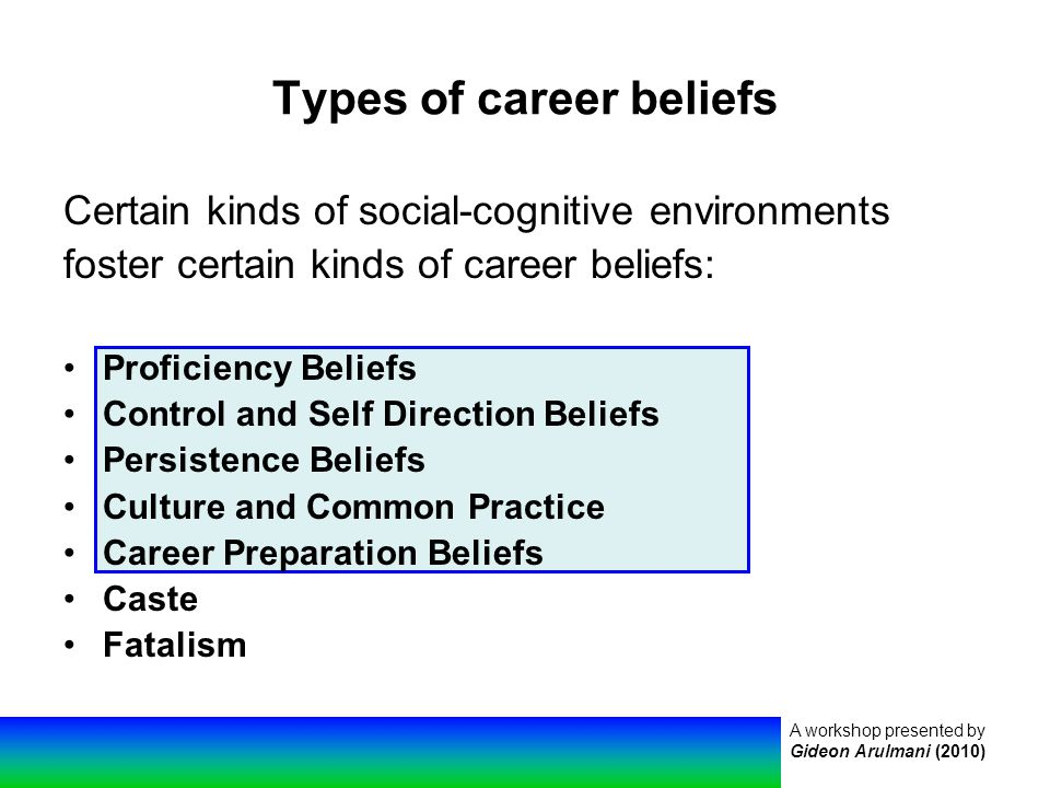 A workshop presented by Gideon Arulmani (2010) Types of career beliefs Certain kinds of social-cognitive environments foster certain kinds of career beliefs: Proficiency Beliefs Control and Self Direction Beliefs Persistence Beliefs Culture and Common Practice Career Preparation Beliefs Caste Fatalism