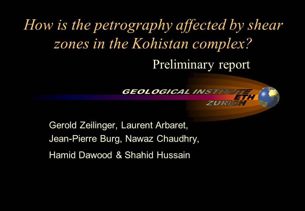 How is the petrography affected by shear zones in the Kohistan complex.