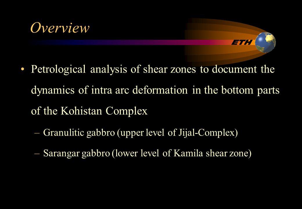 Results Al (tot) - hornblende barometer: –Granulitic gabbro mylonitic zone 0.9 - 1.2 GPa –Granulitic gabbro undeformed part.