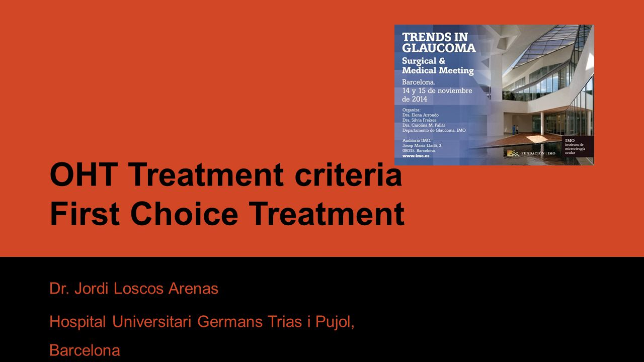 OHT Treatment criteria IOP Age Race Family History Optic Disc Central Corneal Thickness (CCT) Others: PEX; Myopia; Low ocular pressure; Raynaud Sd; Migraine; Sleep Apnoea Asses each patient individually when deciding whether or not to treat