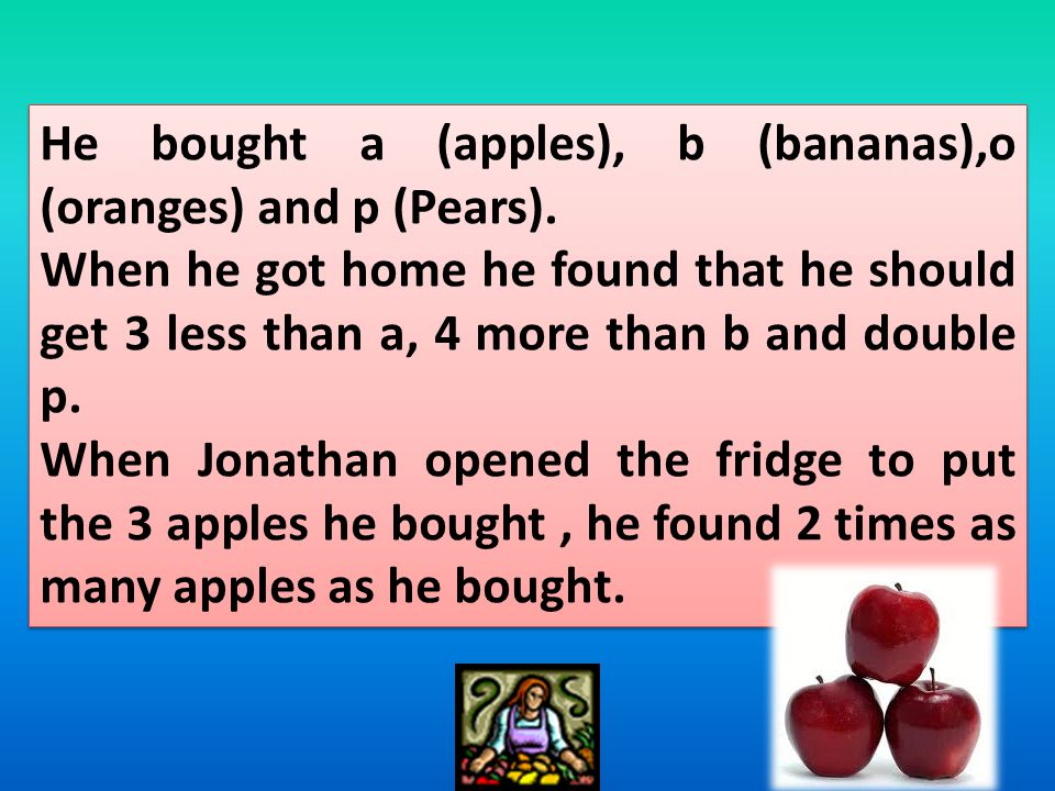 He bought a (apples), b (bananas),o (oranges) and p (Pears).