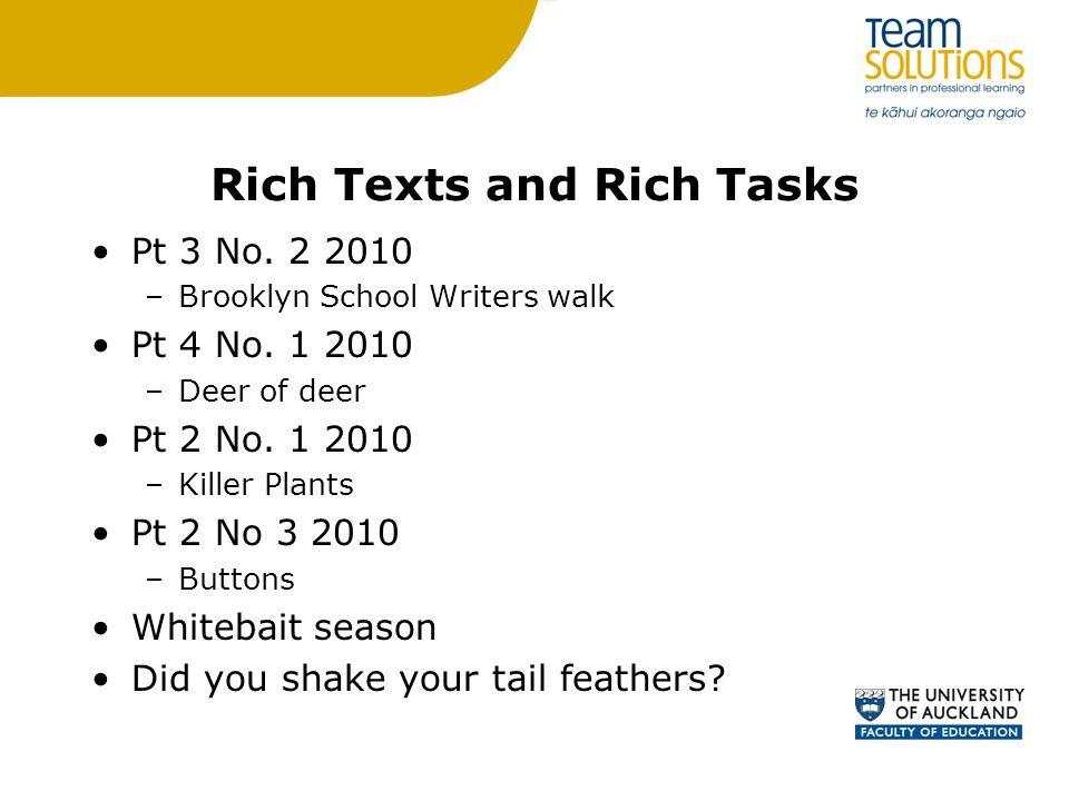 Rich Texts and Rich Tasks Pt 3 No. 2 2010 –Brooklyn School Writers walk Pt 4 No.