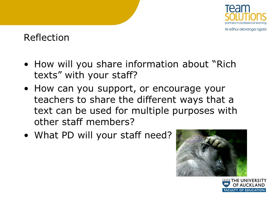 Reflection How will you share information about Rich texts with your staff.