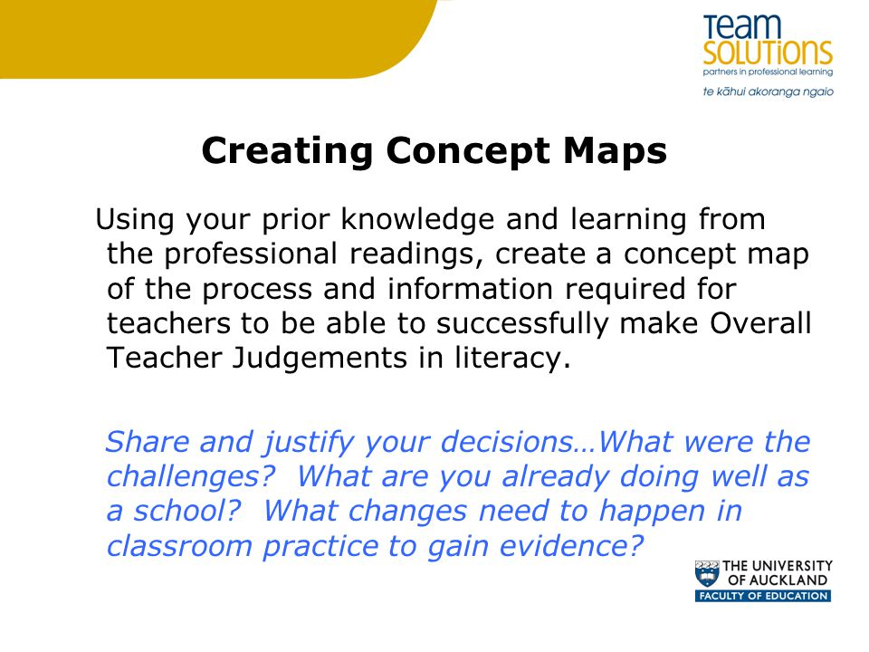 Creating Concept Maps Using your prior knowledge and learning from the professional readings, create a concept map of the process and information required for teachers to be able to successfully make Overall Teacher Judgements in literacy.