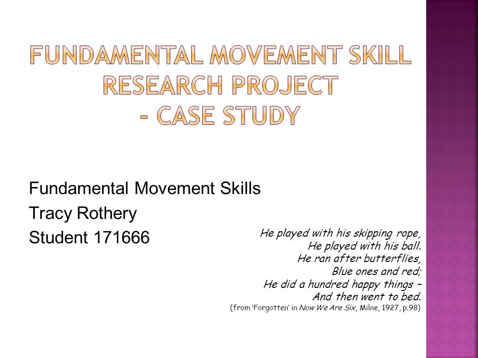 Fundamental Movement Skills Tracy Rothery Student 171666 He played with his skipping rope, He played with his ball.