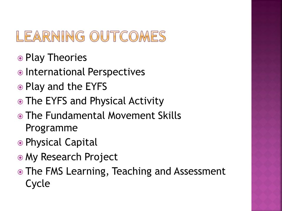  Play Theories  International Perspectives  Play and the EYFS  The EYFS and Physical Activity  The Fundamental Movement Skills Programme  Physical Capital  My Research Project  The FMS Learning, Teaching and Assessment Cycle