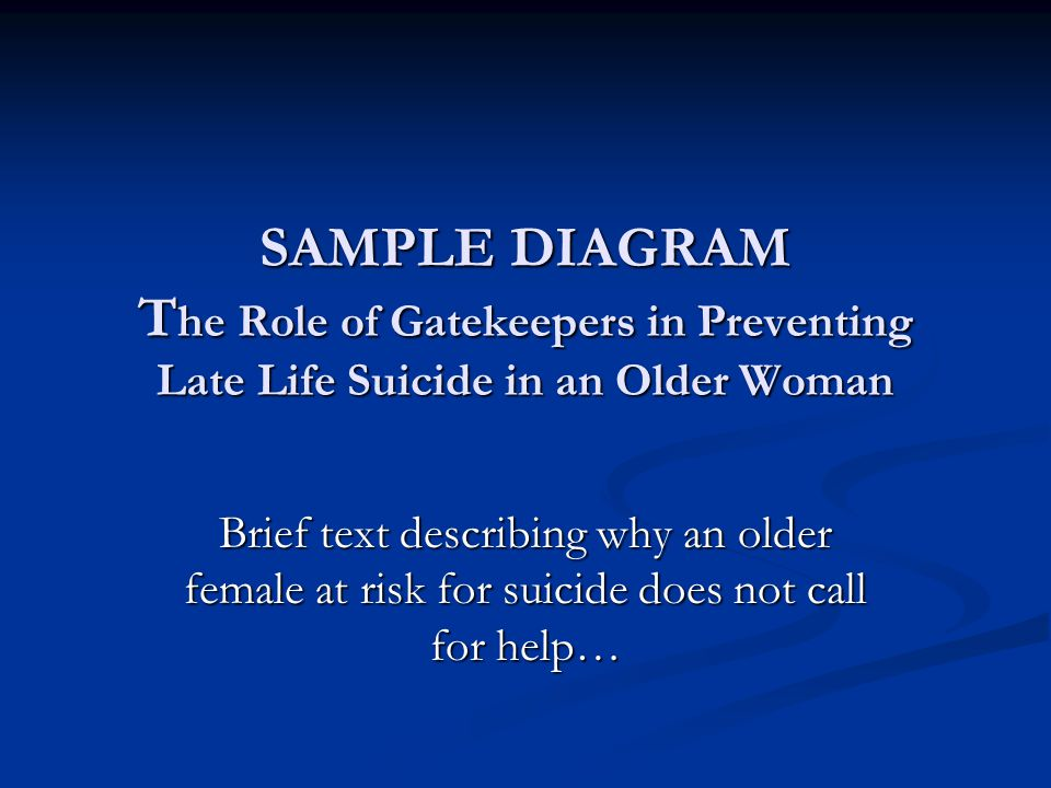 SAMPLE DIAGRAM T he Role of Gatekeepers in Preventing Late Life Suicide in an Older Woman Brief text describing why an older female at risk for suicide does not call for help…