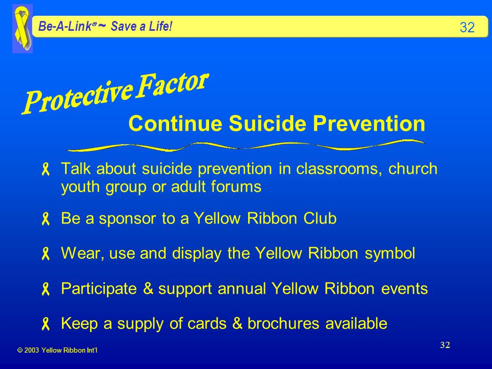  2003 Yellow Ribbon Int'l Be-A-Link  ~ Save a Life.