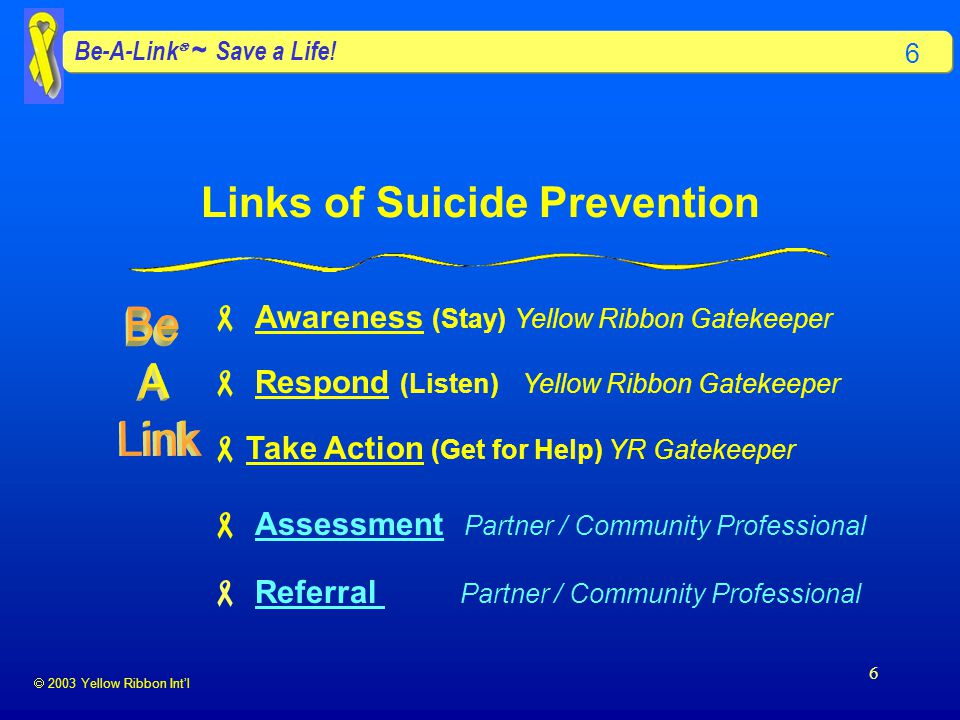  2003 Yellow Ribbon Int'l Be-A-Link  ~ Save a Life.