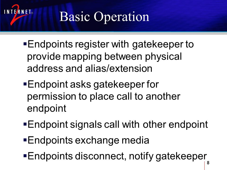 9 Gatekeeper Functionality Services Definition describes the various services (multipoint conferences, h.320 gateways, call forwarding, etc.) that are available on the network Zone Definition provides a mechanism for describing users on the network in the local zone Neighbor Gatekeepers provide a way to define other distant gatekeepers (for example, at other campuses), so that users can make long distance calls Network Topology provides a way to describe topology on the local zone.