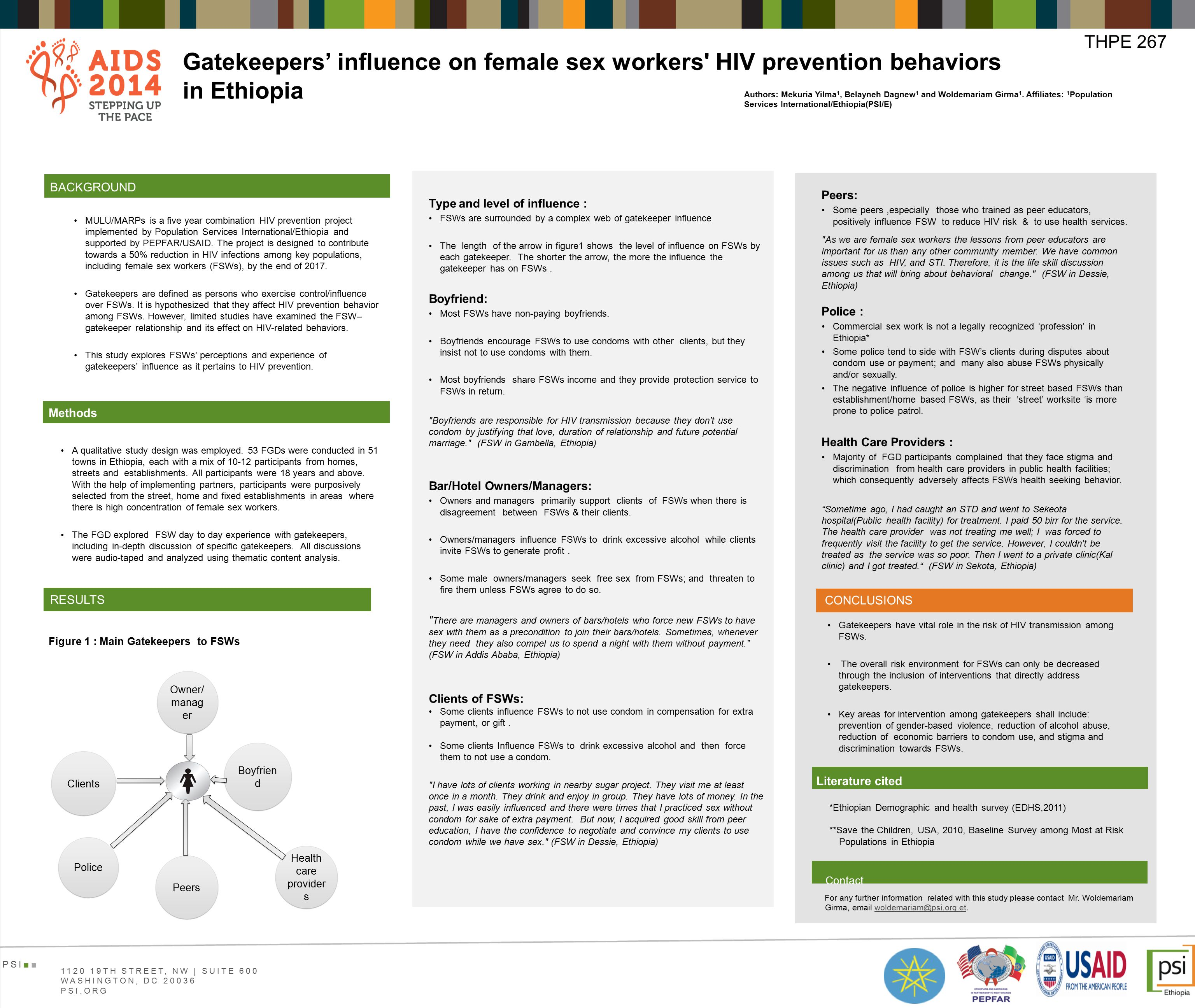 Gatekeepers' influence on female sex workers HIV prevention behaviors in Ethiopia MULU/MARPs is a five year combination HIV prevention project implemented by Population Services International/Ethiopia and supported by PEPFAR/USAID.