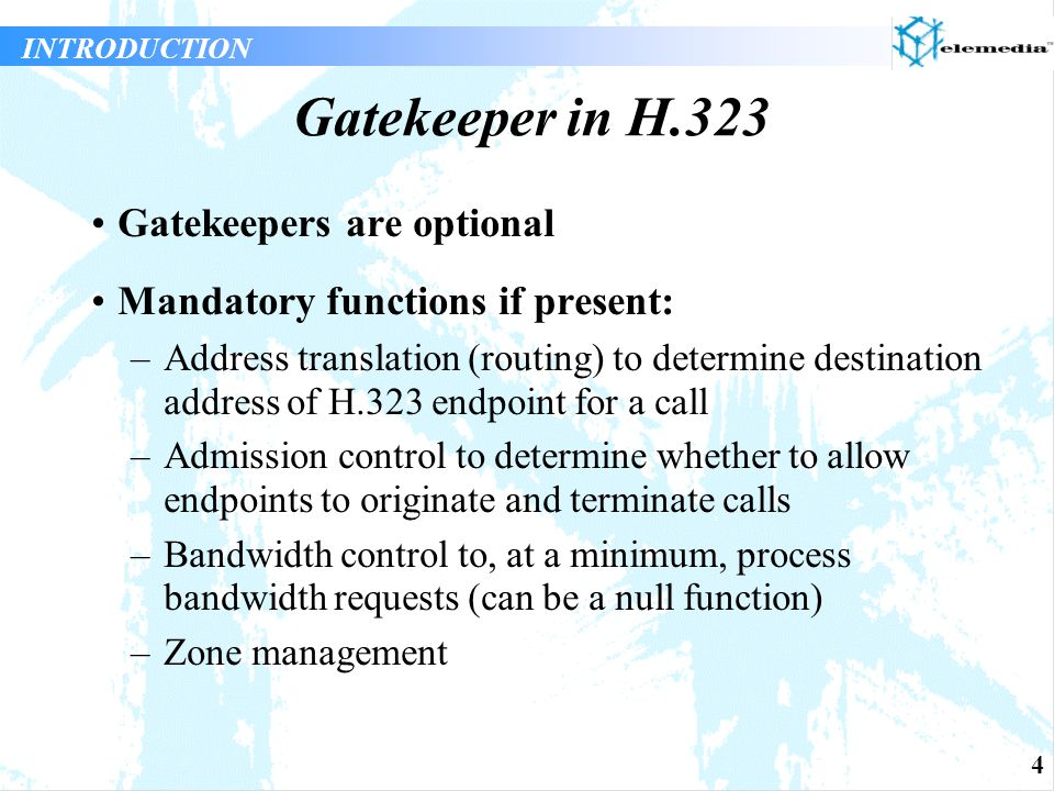 15 Gatekeeper Routed Call Signalling (Q.931) Gatekeeper aware of connection state of call but not media usage (no access to H.245 signalling) More load on gatekeeper as it must process Q.931 messages and maintain Q.931 signalling channel Service management functions can include connection statistics but not media usage Gatekeeper can validate Q.931 message parameters such as calling party information Call detail recording functions enhanced by direct knowledge of connection state SIGNALLING MODELS
