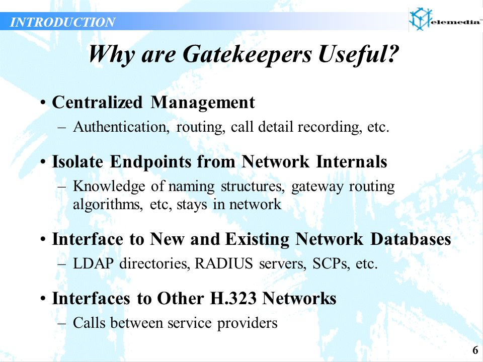 7 Gatekeeper Standards INTRODUCTION Standards specify the communications between H.323 entities and Gatekeepers (RAS messages) Standards specify the services a Gatekeeper must provide BUT Standards DO NOT specify how the Gatekeeper should provide those services Standards DO NOT fully specify how Gatekeepers locate other Gatekeepers