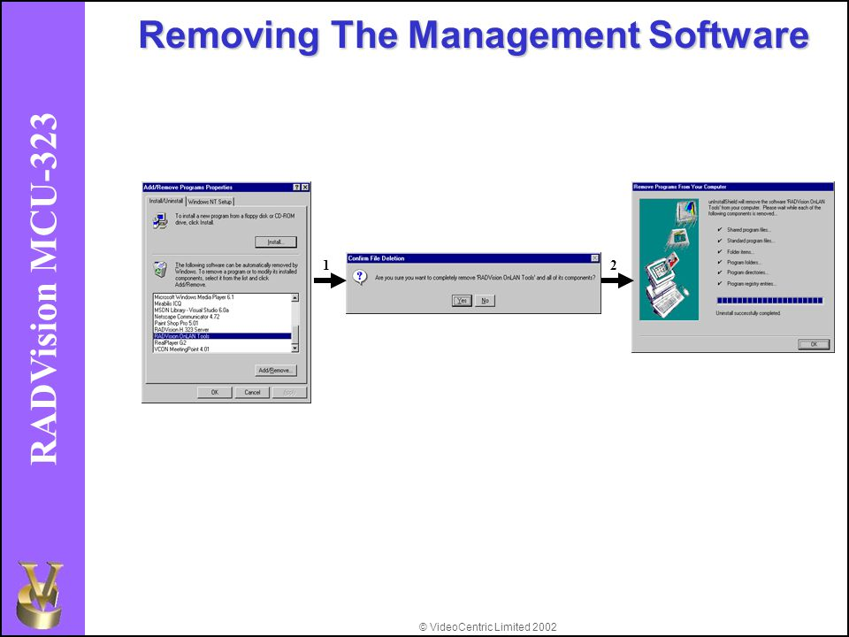 © VideoCentric Limited 2002 RADVision MCU-323 Removing The Management Software 12