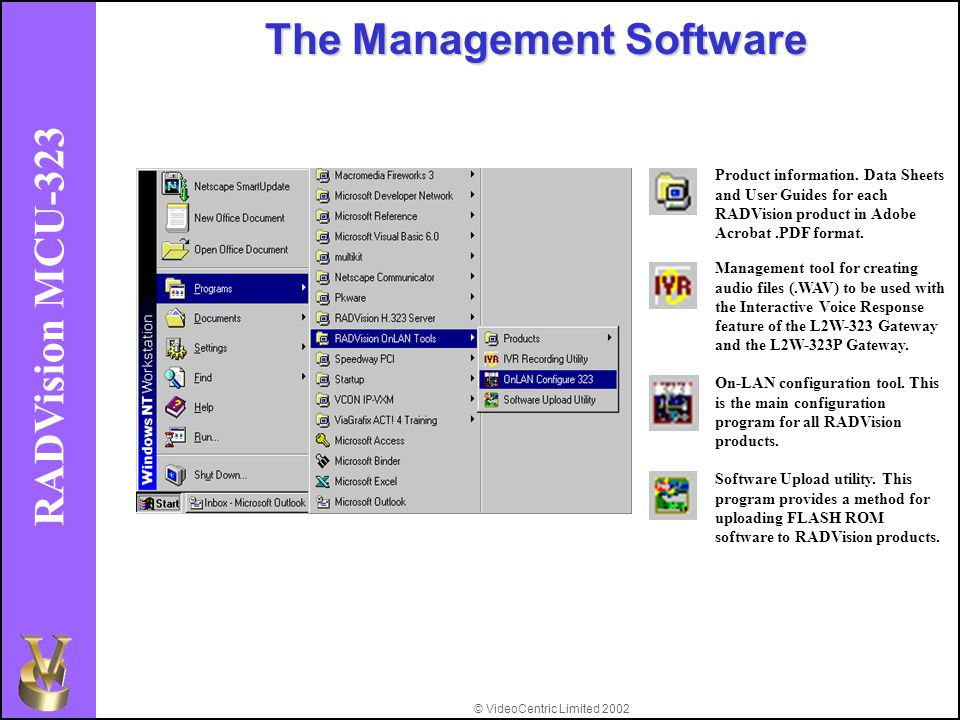 © VideoCentric Limited 2002 RADVision MCU-323 The Management Software Product information.
