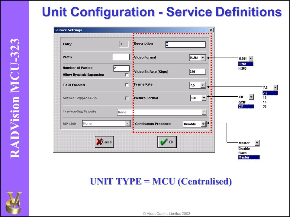 © VideoCentric Limited 2002 RADVision MCU-323 Unit Configuration - Service Definitions UNIT TYPE = MCU (Centralised)