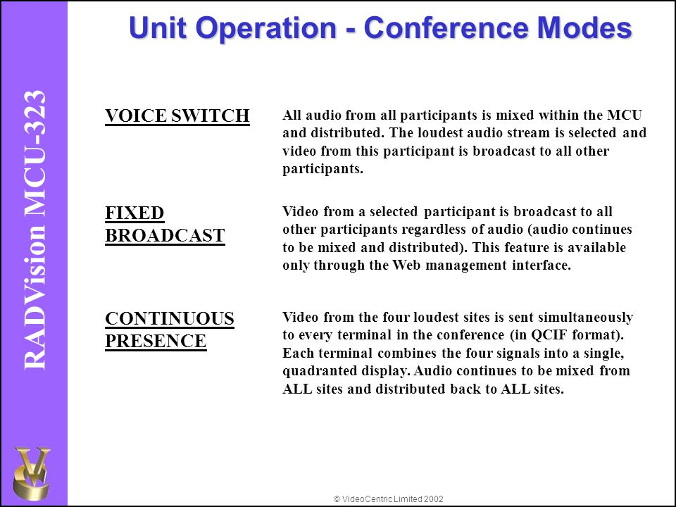 © VideoCentric Limited 2002 RADVision MCU-323 Unit Operation - Conference Modes VOICE SWITCH All audio from all participants is mixed within the MCU and distributed.