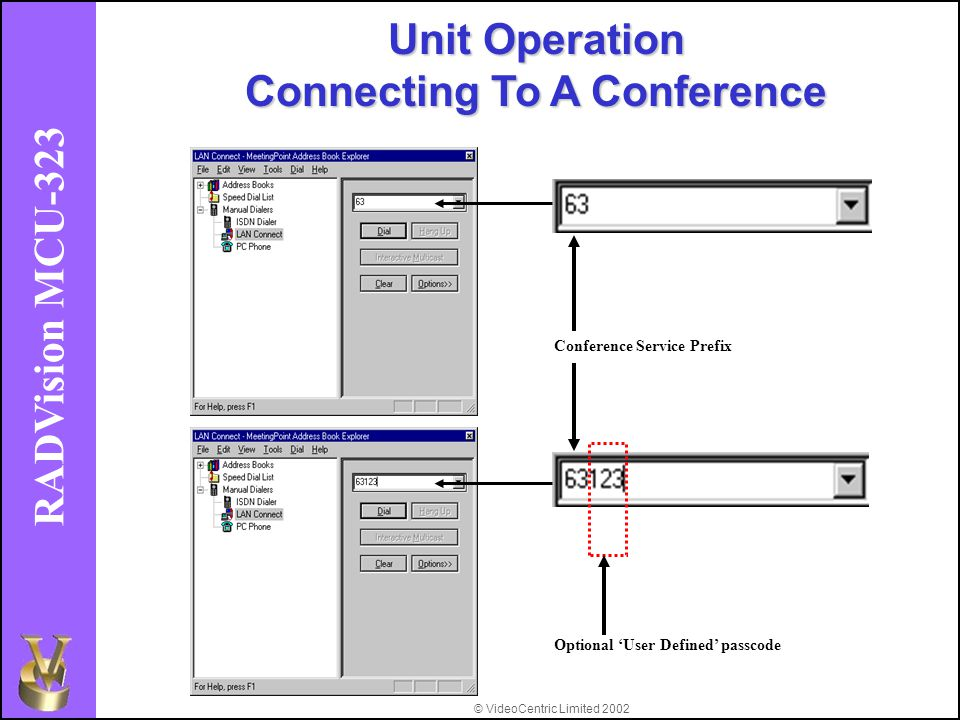 © VideoCentric Limited 2002 RADVision MCU-323 Conference Service Prefix Optional 'User Defined' passcode Unit Operation Connecting To A Conference