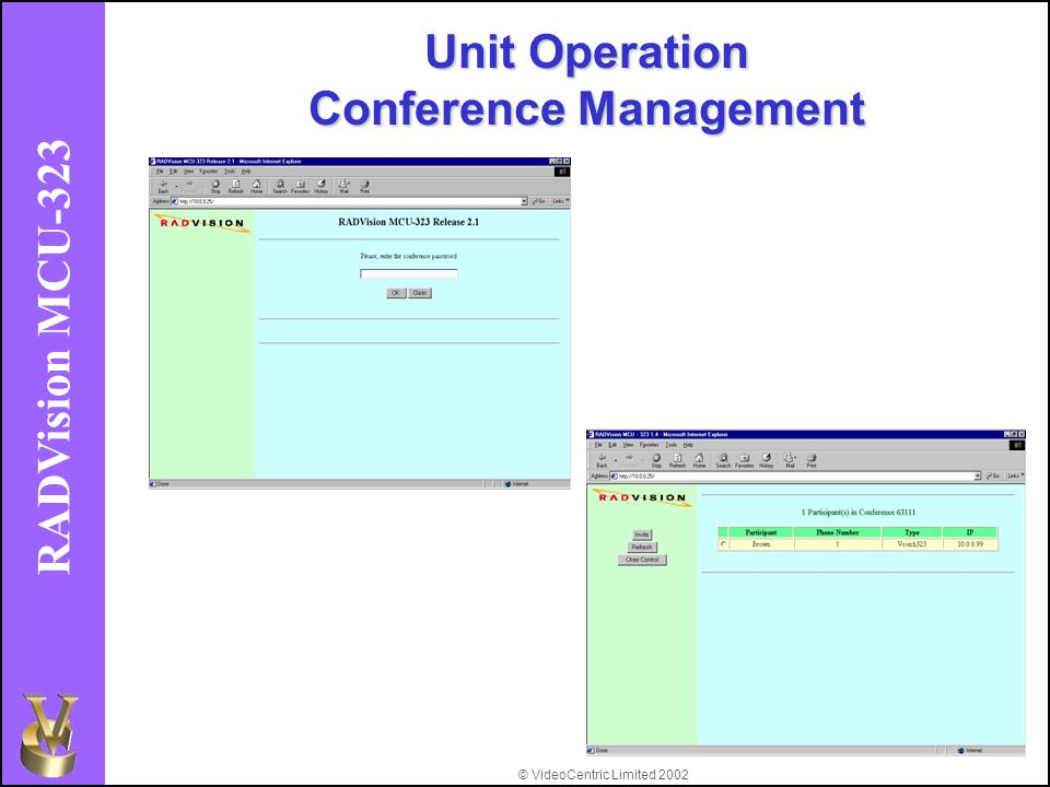 © VideoCentric Limited 2002 RADVision MCU-323 Unit Operation Conference Management