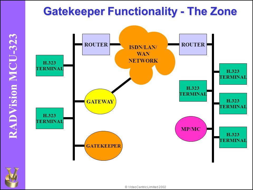 © VideoCentric Limited 2002 RADVision MCU-323 Gatekeeper Functionality - The Zone H.323 TERMINAL H.323 TERMINAL H.323 TERMINAL GATEWAY MP/MC GATEKEEPER ROUTER ISDN/LAN/ WAN NETWORK ROUTER H.323 TERMINAL H.323 TERMINAL H.323 TERMINAL