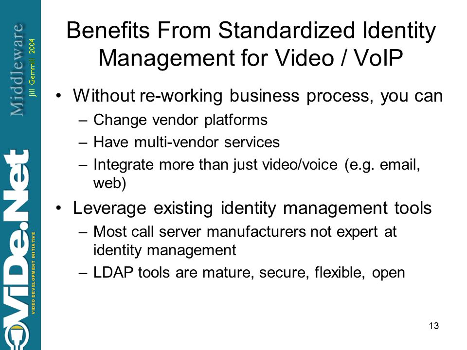 Jill Gemmill 2004 13 Benefits From Standardized Identity Management for Video / VoIP Without re-working business process, you can –Change vendor platforms –Have multi-vendor services –Integrate more than just video/voice (e.g.