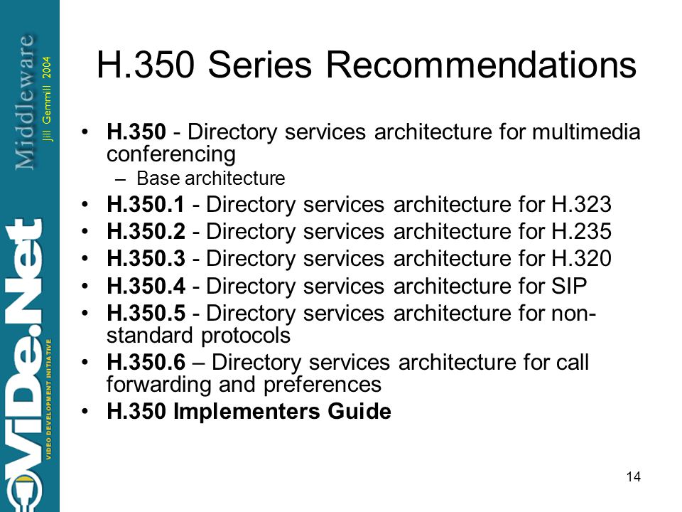 Jill Gemmill 2004 14 H.350 Series Recommendations H.350 - Directory services architecture for multimedia conferencing –Base architecture H.350.1 - Directory services architecture for H.323 H.350.2 - Directory services architecture for H.235 H.350.3 - Directory services architecture for H.320 H.350.4 - Directory services architecture for SIP H.350.5 - Directory services architecture for non- standard protocols H.350.6 – Directory services architecture for call forwarding and preferences H.350 Implementers Guide