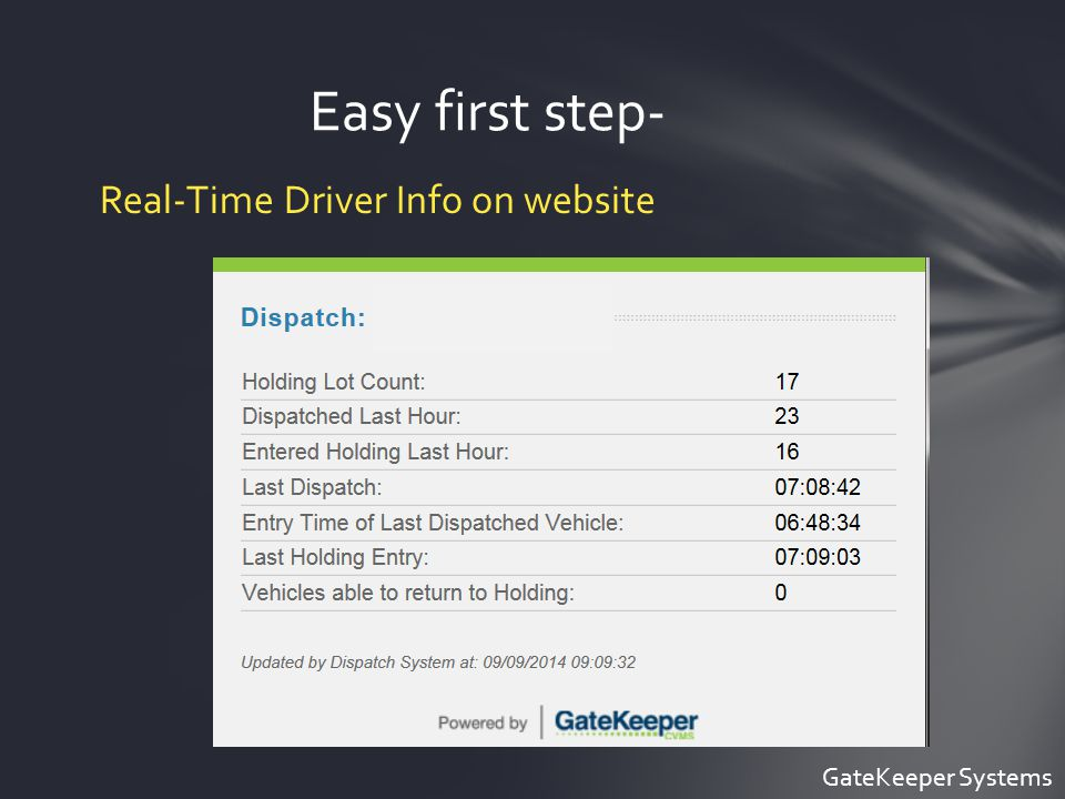 Easy first step- Real-Time Driver Info on website GateKeeper Systems