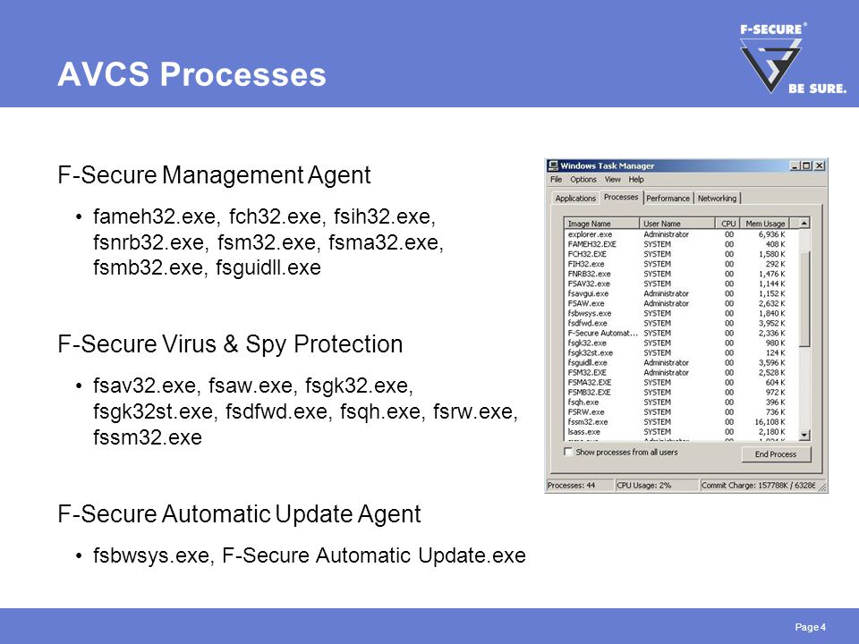 Page 4 AVCS Processes F-Secure Management Agent fameh32.exe, fch32.exe, fsih32.exe, fsnrb32.exe, fsm32.exe, fsma32.exe, fsmb32.exe, fsguidll.exe F-Sec