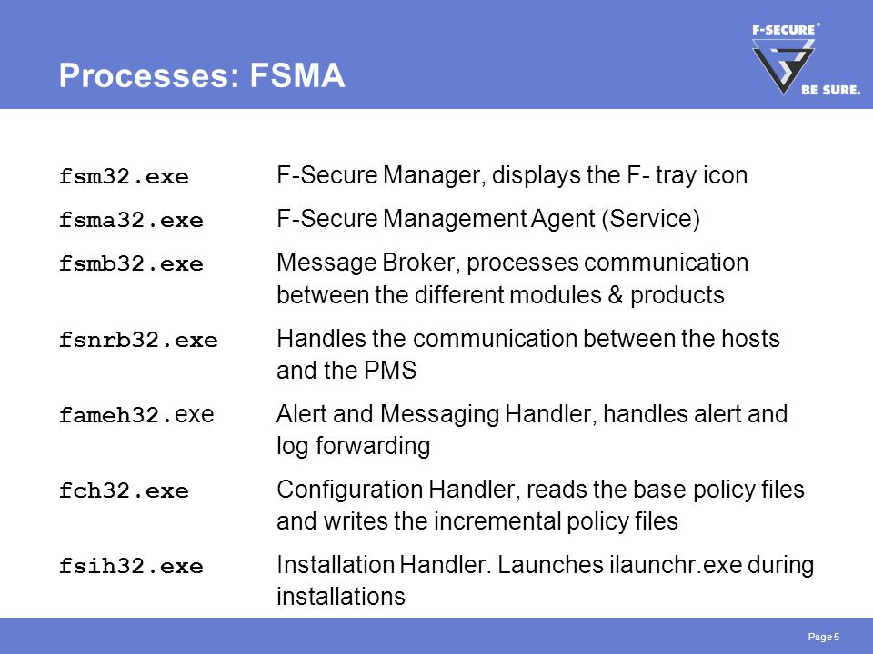 Page 6 Processes: Virus & Spy Protection fsav32.exe Anti-Virus Handler fsaw.exe F-Secure Ad-Watch (Browser Control) fsdfwd.exe Anti-Virus Firewall Deamon.