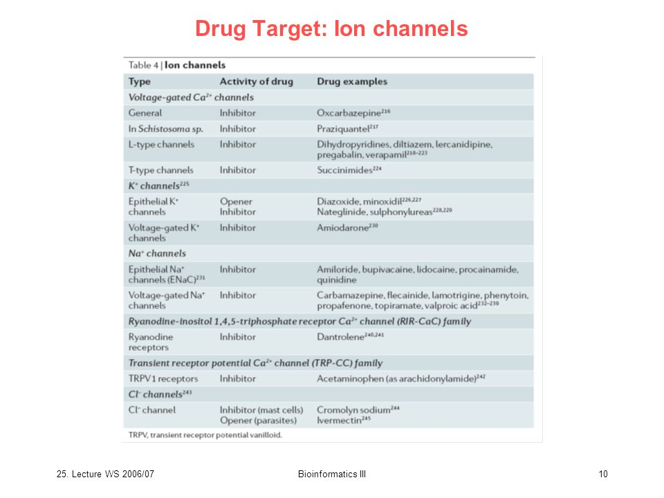 25. Lecture WS 2006/07Bioinformatics III10 Drug Target: Ion channels