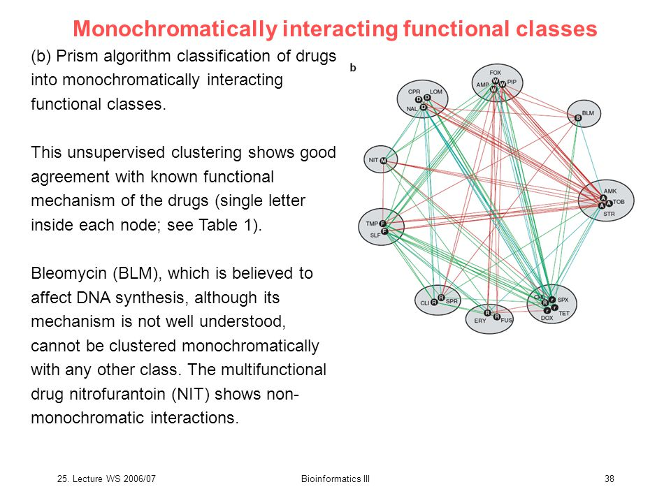 25. Lecture WS 2006/07Bioinformatics III38 Monochromatically interacting functional classes (b) Prism algorithm classification of drugs into monochrom