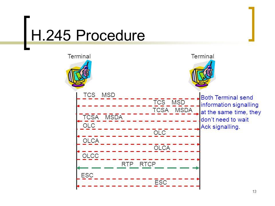 13 H.245 Procedure Terminal TCS MSD OLCA Terminal TCSA MSDA OLC OLCA OLC TCSA MSDA OLCC ESC RTP RTCP Both Terminal send information signalling at the