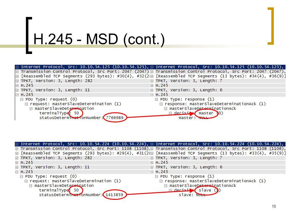 18 H.245 - MSD (cont.)