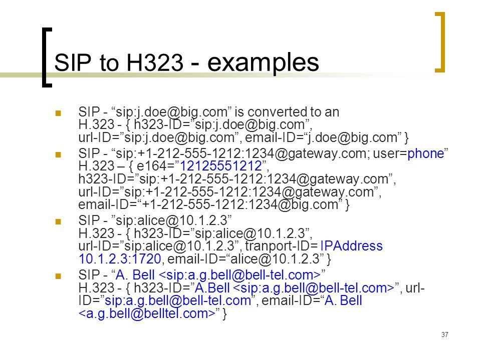 "37 SIP to H323 - examples SIP - ""sip:j.doe@big.com"" is converted to an H.323 - { h323-ID=""sip:j.doe@big.com"", url-ID=""sip:j.doe@big.com"", email-ID=""j."