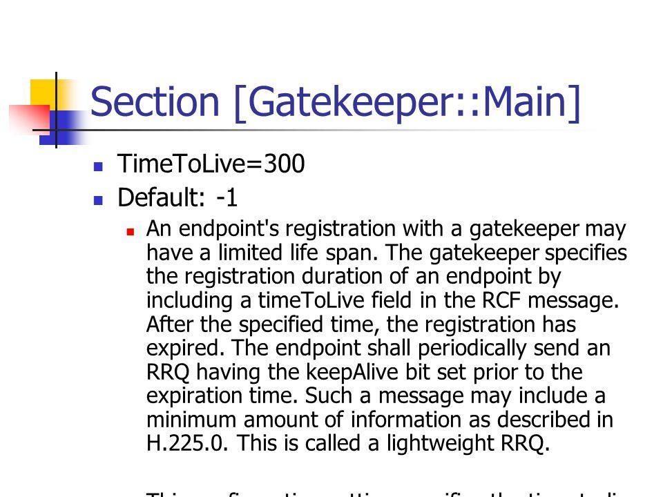 Section [CallTable] GenerateNBCDR=0 Default: 1 Generate CDRs for calls from neighbor zones.