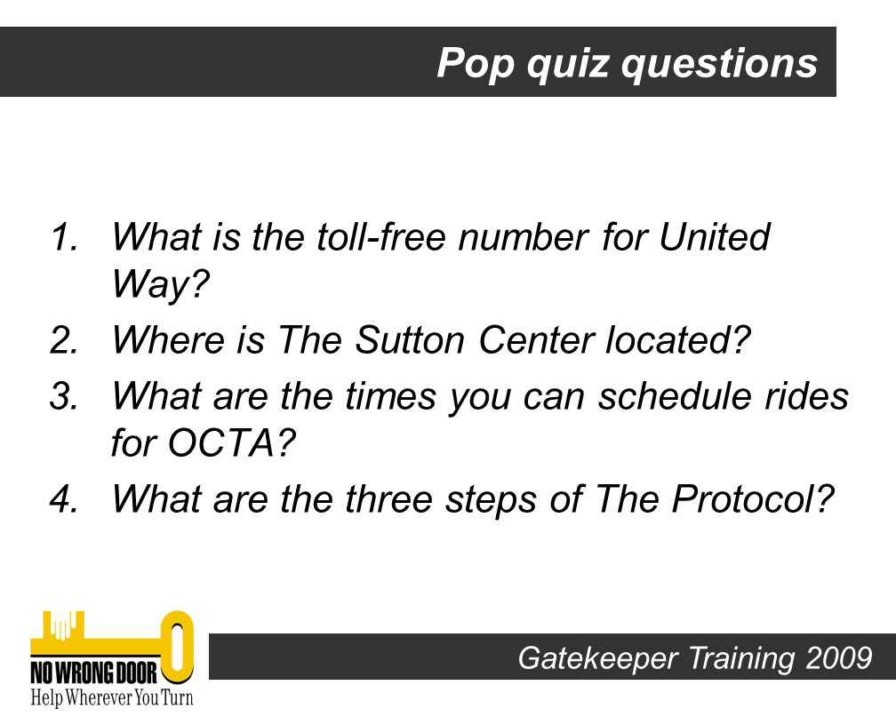 Open Book! POP QUIZ Gatekeeper Training 2009