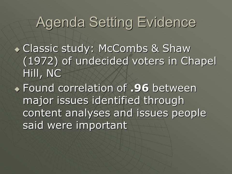 Agenda Setting Evidence  Classic study: McCombs & Shaw (1972) of undecided voters in Chapel Hill, NC  Found correlation of.96 between major issues i