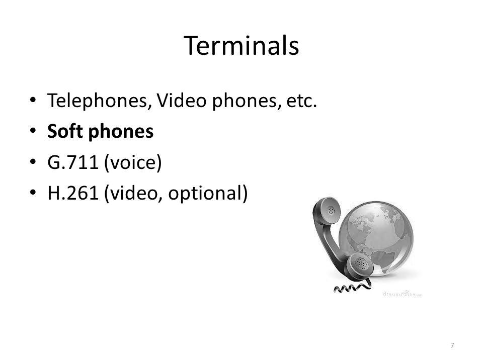 Terminals Telephones, Video phones, etc. Soft phones G.711 (voice) H.261 (video, optional) 7
