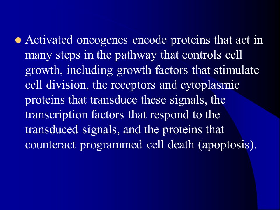 Activated oncogenes encode proteins that act in many steps in the pathway that controls cell growth, including growth factors that stimulate cell divi
