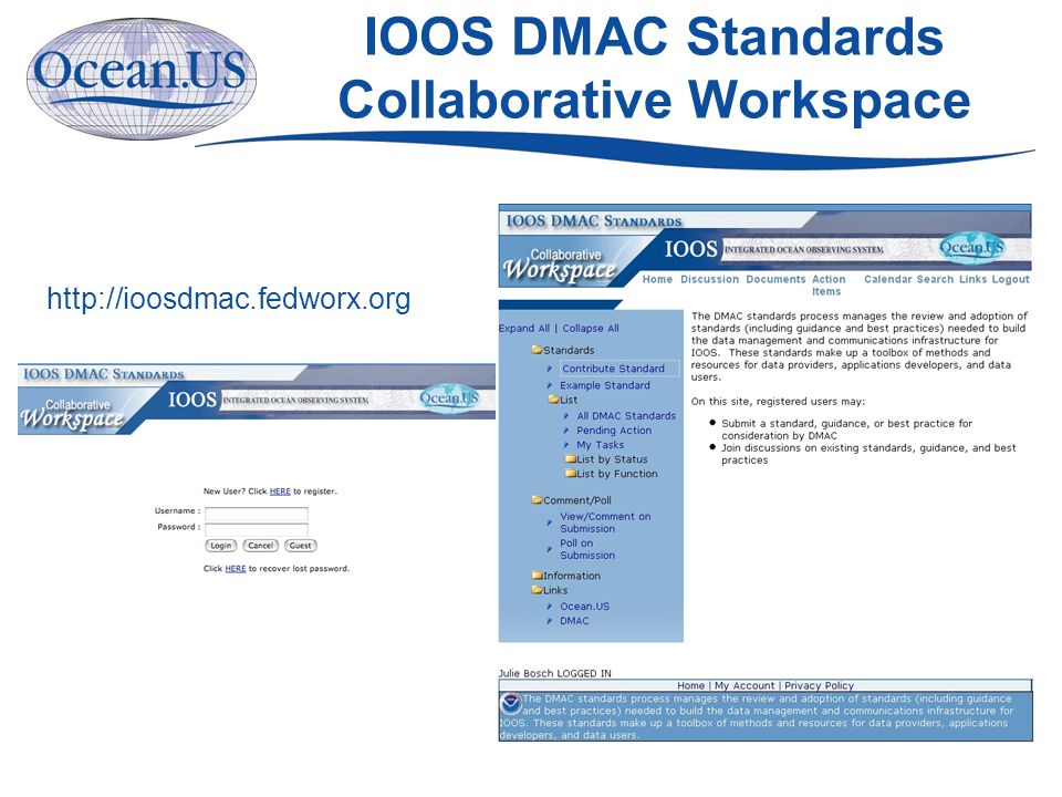 IOOS DMAC Standards Collaborative Workspace http://ioosdmac.fedworx.org