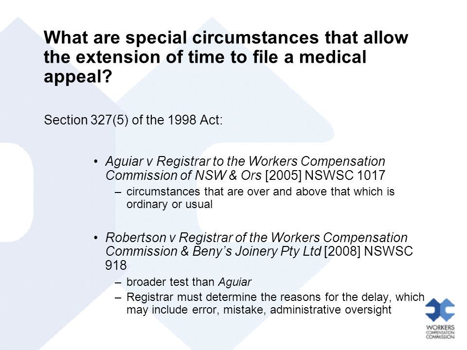 What are special circumstances that allow the extension of time to file a medical appeal.