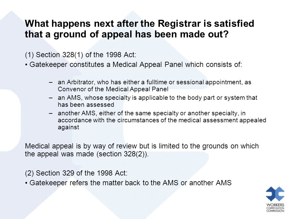 What happens next after the Registrar is satisfied that a ground of appeal has been made out.