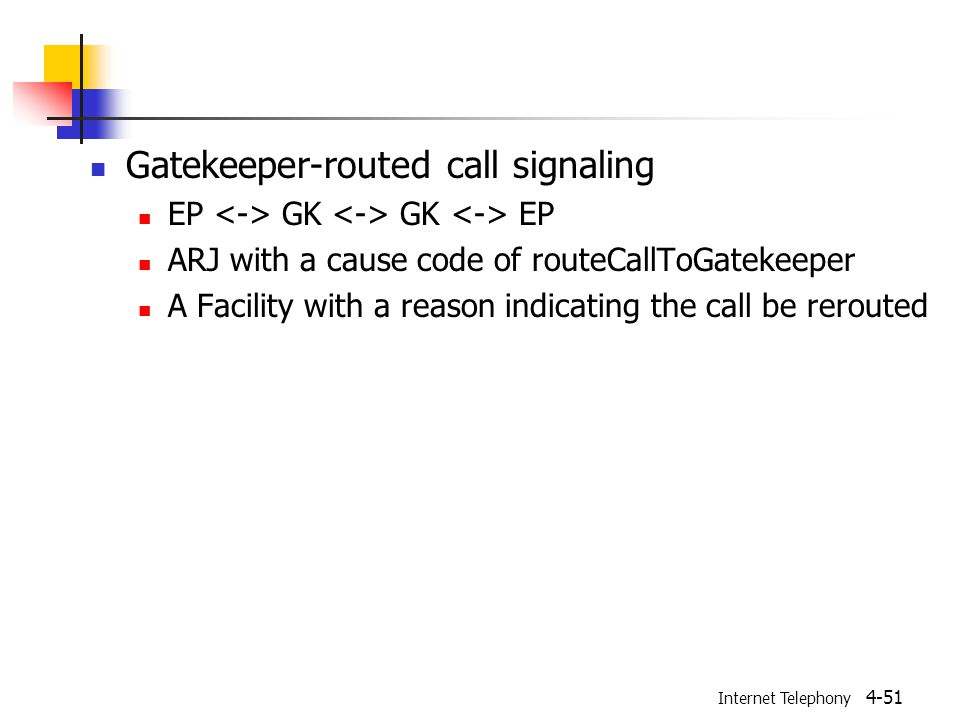 Internet Telephony 4-51 Gatekeeper-routed call signaling EP GK GK EP ARJ with a cause code of routeCallToGatekeeper A Facility with a reason indicating the call be rerouted