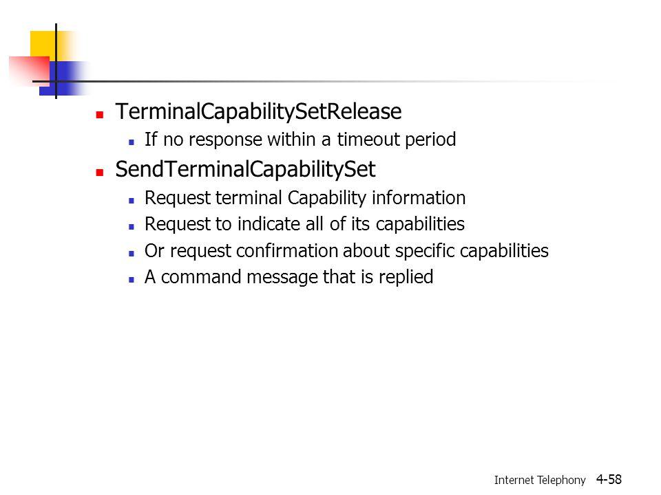 Internet Telephony 4-58 TerminalCapabilitySetRelease If no response within a timeout period SendTerminalCapabilitySet Request terminal Capability info