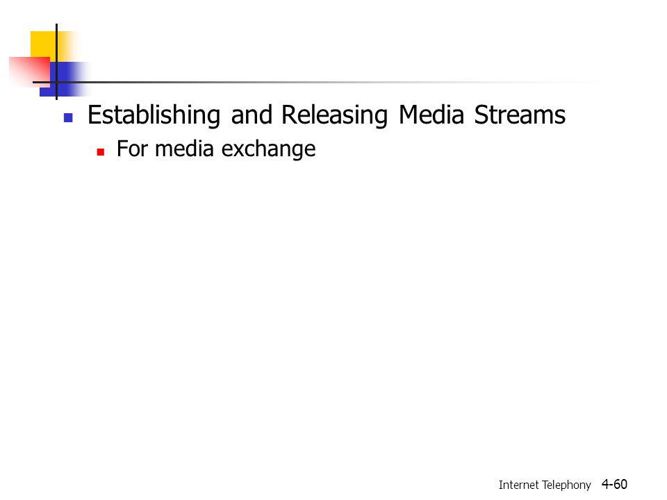 Internet Telephony 4-60 Establishing and Releasing Media Streams For media exchange