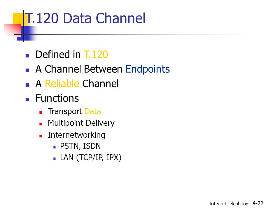 Internet Telephony 4-72 T.120 Data Channel Defined in T.120 A Channel Between Endpoints A Reliable Channel Functions Transport Data Multipoint Delivery Internetworking PSTN, ISDN LAN (TCP/IP, IPX)