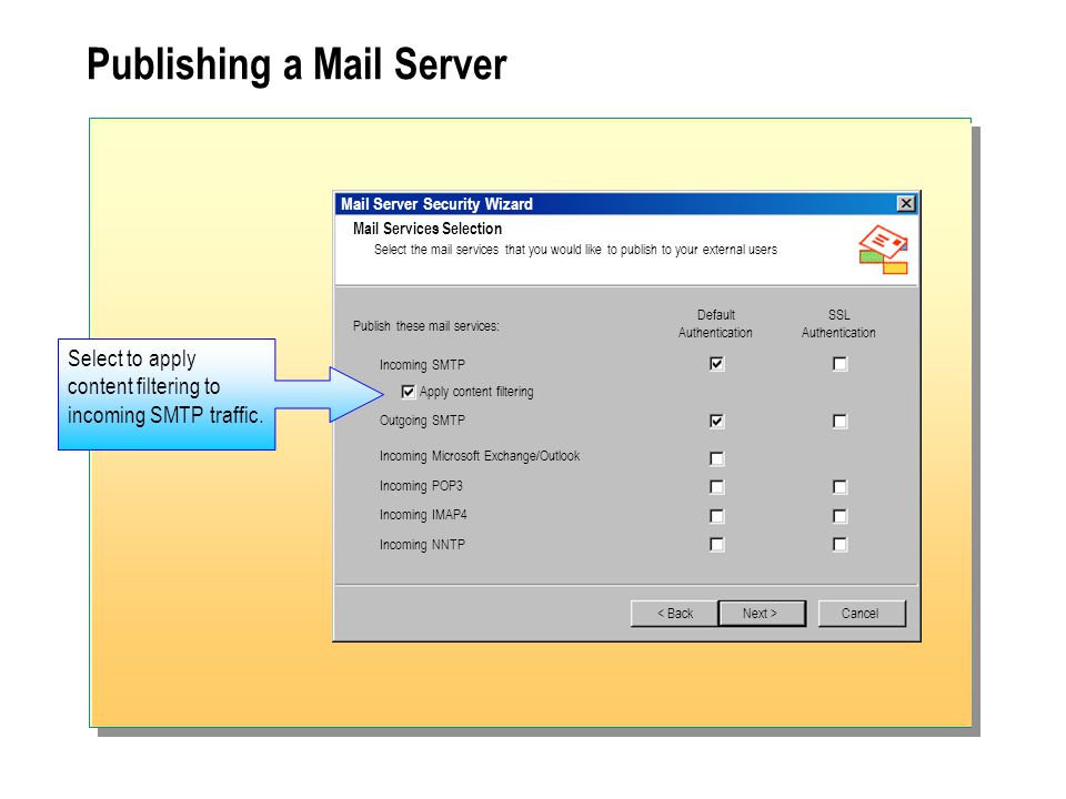 Publishing a Mail Server Mail Server Security Wizard Mail Services Selection Select the mail services that you would like to publish to your external users < Back Publish these mail services: Default Authentication SSL Authentication Incoming SMTP Apply content filtering Outgoing SMTP Incoming Microsoft Exchange/Outlook Incoming POP3 Incoming IMAP4 Incoming NNTP Next >Cancel Select to apply content filtering to incoming SMTP traffic.