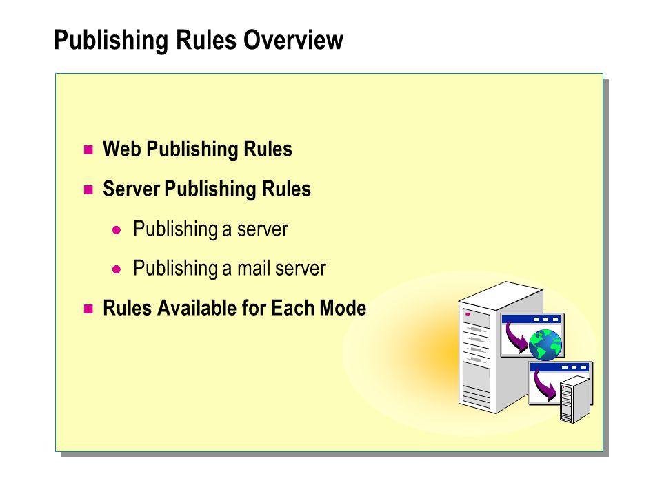  Configuring Web Publishing Publishing a Web Server Configuring Listeners for Incoming Web Requests Redirecting Requests to Other Ports Establishing Secure Communication Configuring SSL Bridging Requiring a Secure Channel