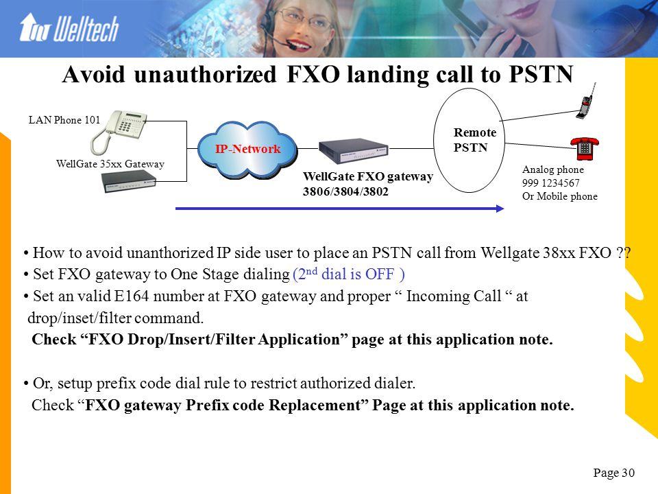 Page 29 FXO gateway Prefix code Replacement IP-Network WellGate FXO gateway 3806/3804/3802 Remote PSTN Analog phone 999 1234567 Or Mobile phone LAN Ph