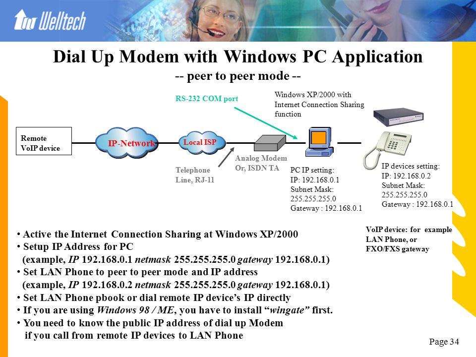 Page 33 Behind IP Sharing device – Dynamic IP IP-Network x.x.x.x is Dynamic WAN IP address ADSL Modem/Router, or IP Sharing device VoIP device: for ex